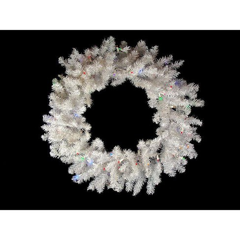 "Northlight 36"" Prelit Battery Operated LED Snow White Christmas Wreath - Multi Lights - image 1 of 2"