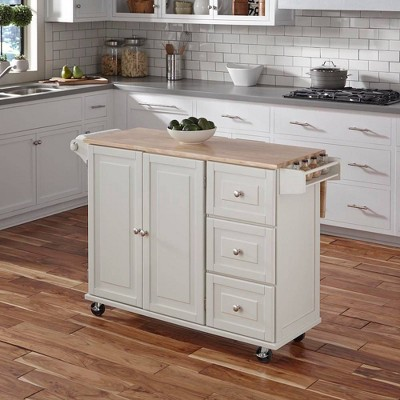 Liberty Kitchen Cart with Wood Top White- Home Styles