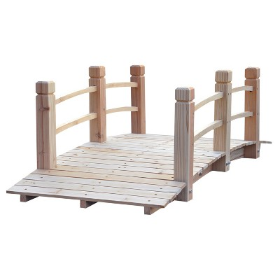 Outsunny 5 ft Wooden Garden Bridge Arc Footbridge with Railings for your Backyard Natural Wood