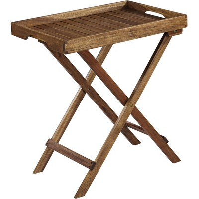 """Teal Island Designs Perry 27"""" Wide Natural Wood Outdoor Folding Tray"""