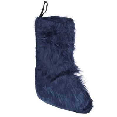 "Northlight 17.5"" Navy Blue Solid Soft Plush Christmas Stocking"