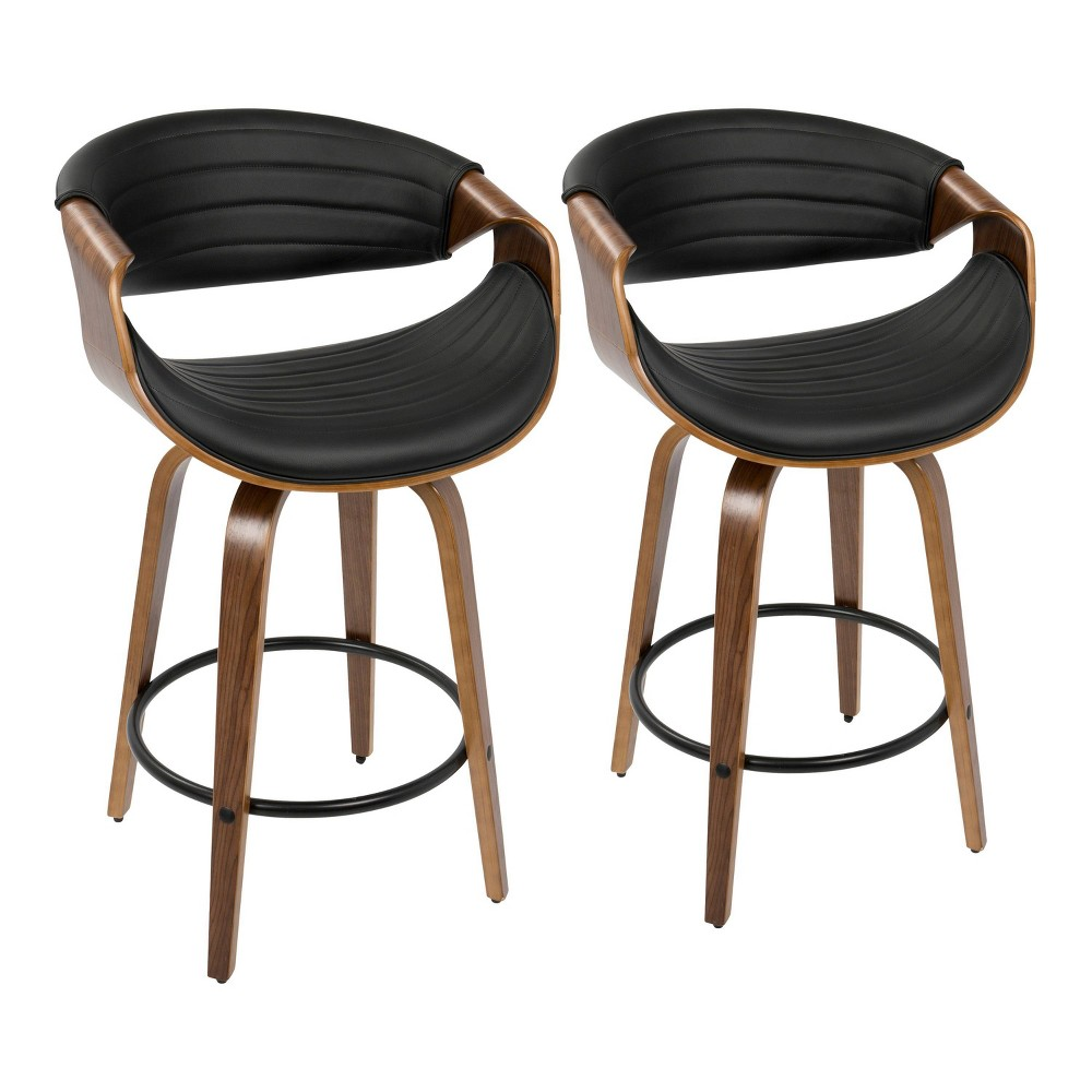 Set of 2 Symphony Mid Century Modern Counter Stool Faux Leather Walnut/Black - LumiSource