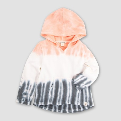 Burt's Bees Baby Girls' Organic Cotton Loose Pique Tri Dip Dye Hoodie - Pink/Blue 6-9M