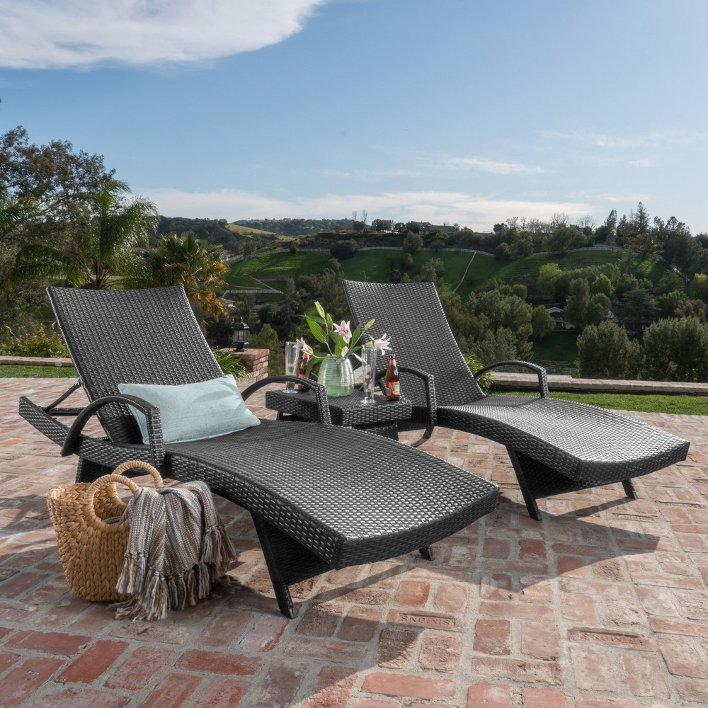 Salem 3pc Wicker Adjustable Chaise Lounge with Arms Set and Table - Gray - Christopher Knight Home, Brown