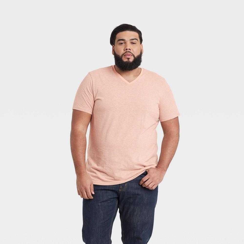 Men 39 S Striped Regular Fit Short Sleeve V Neck T Shirt Goodfellow 38 Co 8482 Pink L
