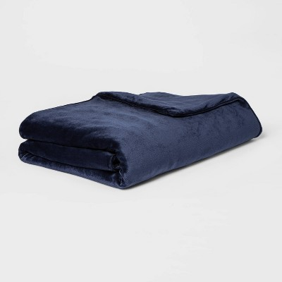 "55"" x 80"" 15lbs Micro Plush Weighted Blanket with Removable Cover Navy - Threshold™"