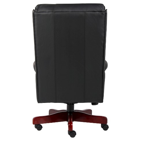 Traditional High Back Caressoftplus Chair With Mahogany Base Black Boss Office Products Target