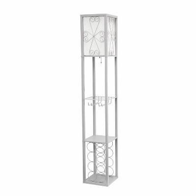 Etagere Organizer Storage Shelf Floor Lamp with Linen Shade Gray - Simple Designs