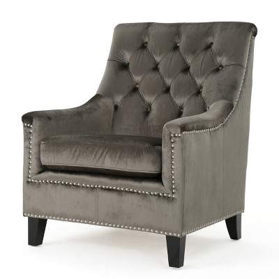 Jaclyn New Velvet Tufted Club Chair   Christopher Knight Home