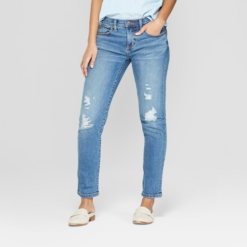 Women's Mid-Rise Distressed Girlfriend Crop Jeans - Universal Thread™ Medium Wash - image 1 of 3