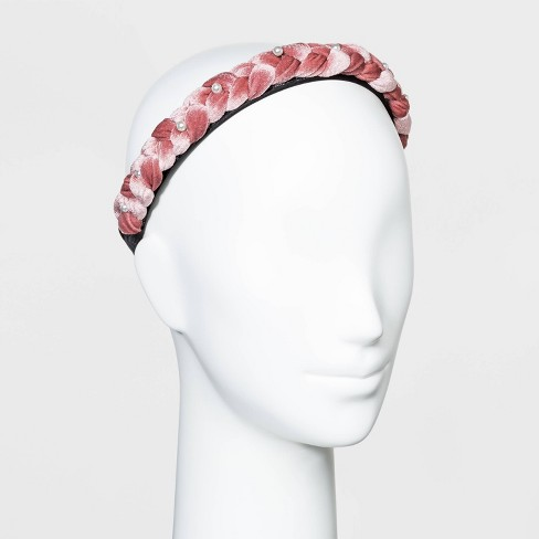 Braided Velvet Braided with Scatter Pearls Headband - Wild Fable™ Blush - image 1 of 1