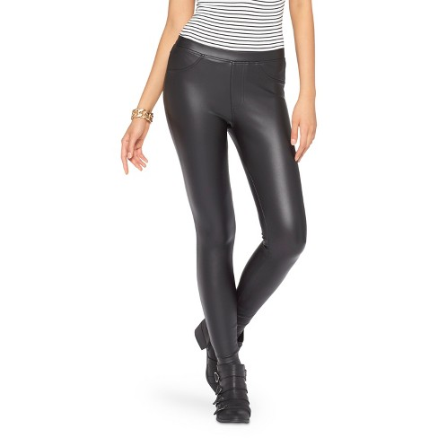 161e2844c428a Women's Juniors' Jeggings - Xhilaration Black Faux Leather XL : Target