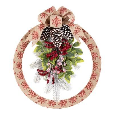 18in Snowflake Homespun Wreath - Haute Décor