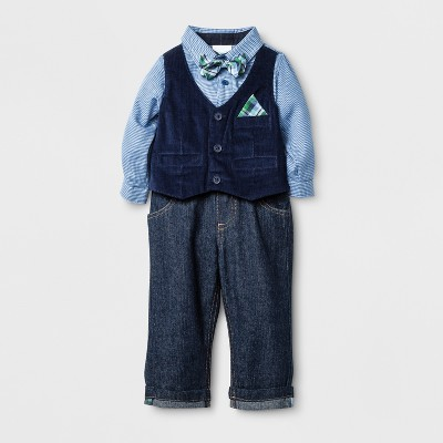 Baby Grand Signature Baby Boys' Plaid Creeper Vest and Denim Pants Suit Set - Blue 6-9M