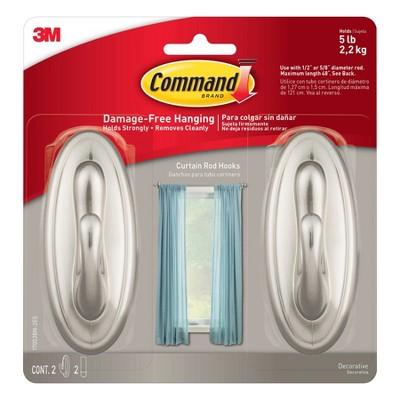 Command 2pc Curtain Rod Hooks