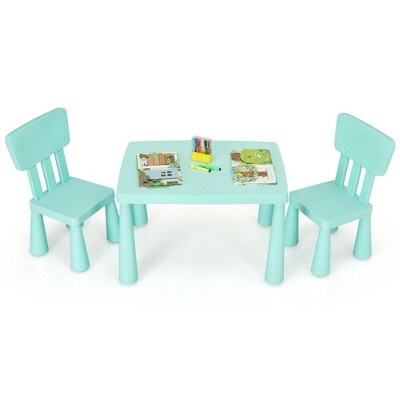 Costway Kids Table & 2 Chairs Set Toddler Activity Play Dining Study Desk Baby Gift Green