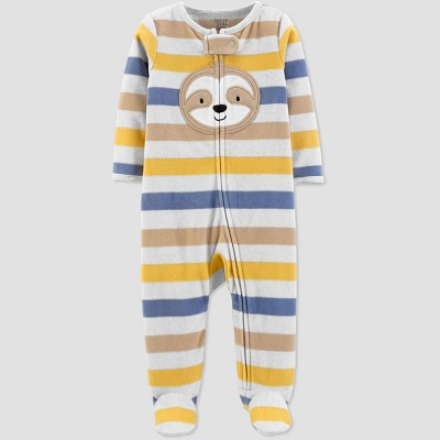 Baby Boys' Stripe Sloth 1pc Pajama - Just One You® made by carter's Yellow 9M