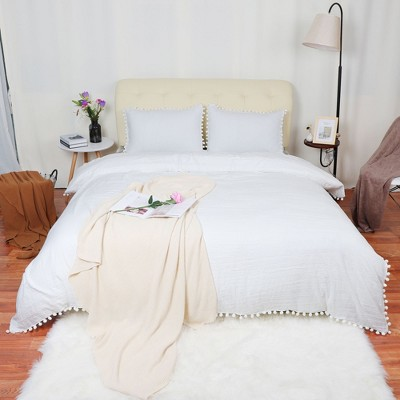 3 Pcs Washed Polyester with Pompoms Tassels Bedding Sets Queen White - PiccoCasa