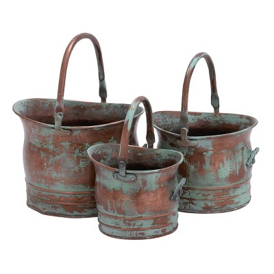 Set of 3 Rustic Copper Bucket Planters with Handles - Olivia & May