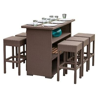 Milton 7pc Wicker Patio Bar Set - Brown - Christopher Knight Home