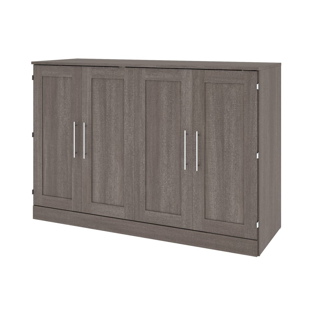 Image of Queen Cabinet Bed with Mattress Bark Gray - Bestar, Brown Gray