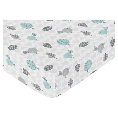 Sweet Jojo Designs Earth & Sky Fitted Crib Sheet - Bird Print