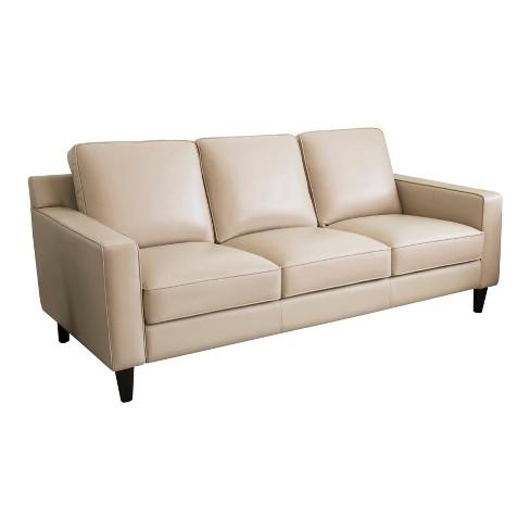 Olivia Top Grain Leather Sofa Cream - Abbyson Living