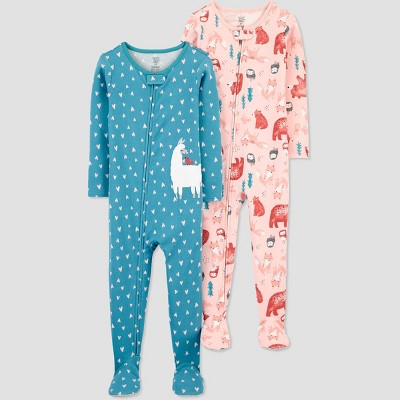 Baby Girls' 2pk Llama/Animals Footed Pajama - Just One You® made by carter's Blue 9M