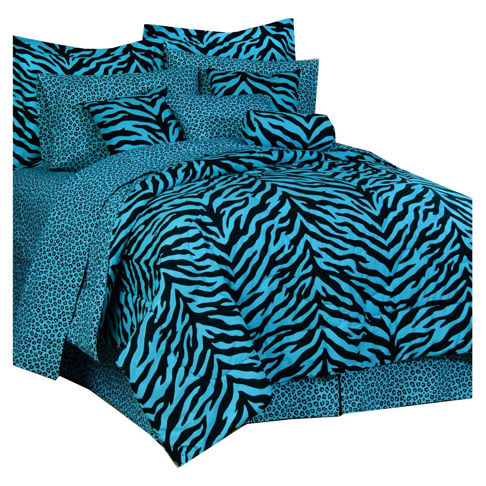Blue Zebra Print Multiple Piece Comforter Set (Daybed) 5 Piece - Karin Maki