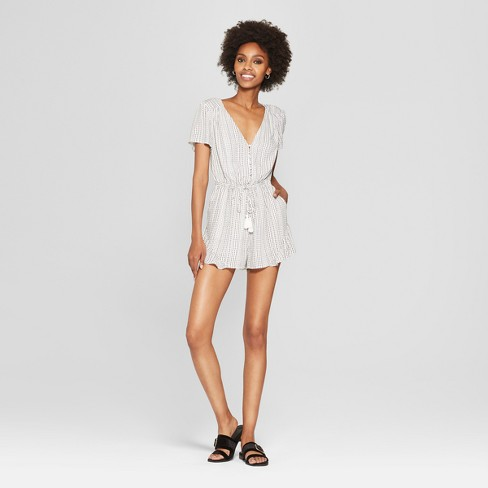 23878a8ebc3 Women s Polka Dot Short Sleeve Romper - NEEDLEWORK White   Target