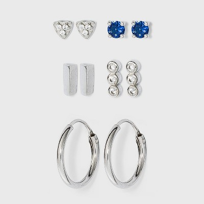 Sterling Silver Glass and Cubic Zirconia Bar Quint Stud Earring Set 5pc - A New Day™ Silver