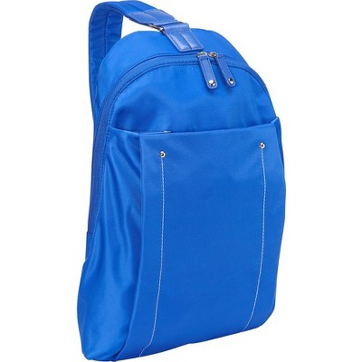 "WIB Miami City Slim Backpack for up-to 14.1"" Notebook , Tablet, eReader - Blue - Twill Polyester - Twill Polyester, Microsuede - Shoulder Strap"
