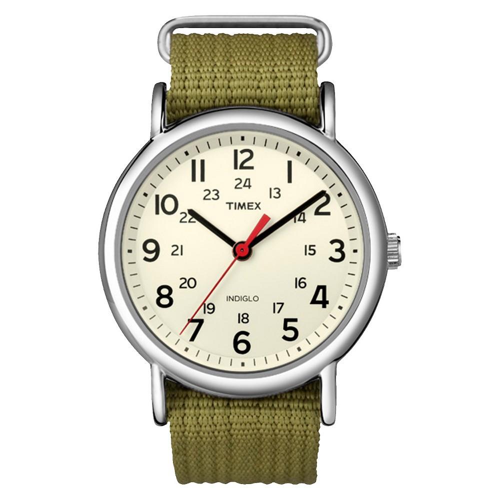 Timex Weekender Slip Thru Nylon Strap Watch Green T2n651jt