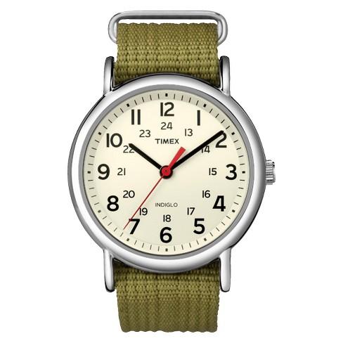 Timex Weekender Slip Thru Nylon Strap Watch - Green T2N651JT - image 1 of 3