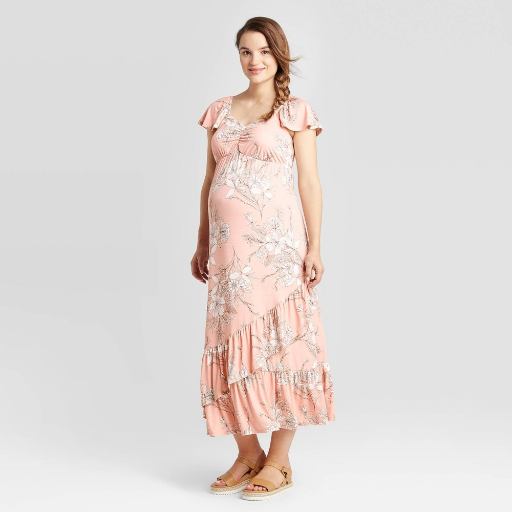 Floral Print Short Sleeve Knit Maternity Dress - Isabel Maternity by Ingrid & Isabel Pink XL