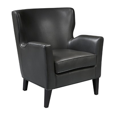 Modern Style Charcoal Grey Faux Leather Accent Arm Chair   Grey   Pulaski