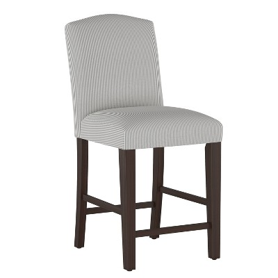 Camel Back Counter Height Barstool Oxford Stripe Charcoal - Skyline Furniture