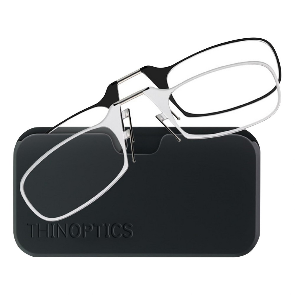 Thin Optics 2pk Universal Pod Reading Glasses Black with Clear 2.0