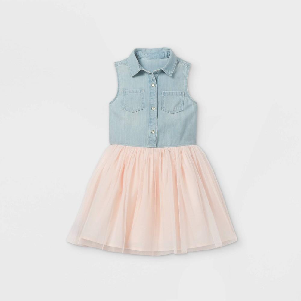Oshkosh B 39 Gosh Toddler Girls 39 Tank Tulle Dress Blue Pink 5t