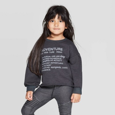 Toddler Girls' 'Adventure' Pullover Sweatshirt - art class™ Black 12M