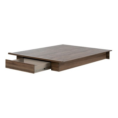 Queen Tao Platform Bed with Drawer Natural Walnut - South Shore