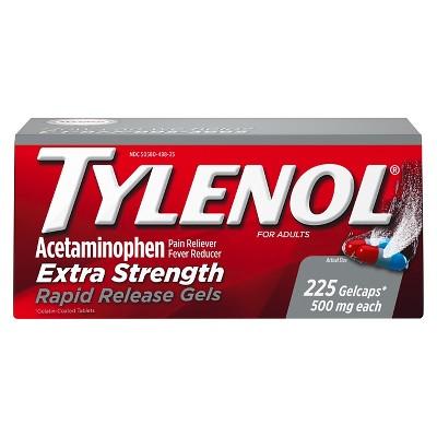 Tylenol Extra Strength Rapid Release Pain Reliever & Fever Reducer Gelcaps - Acetaminophen - 225ct