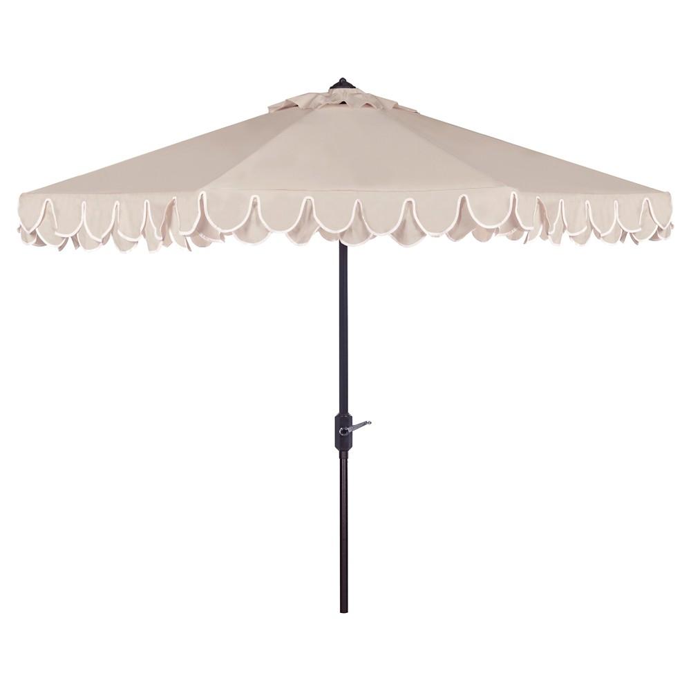 Elegant Valance 9' Patio Umbrella Beige/White - Safavieh