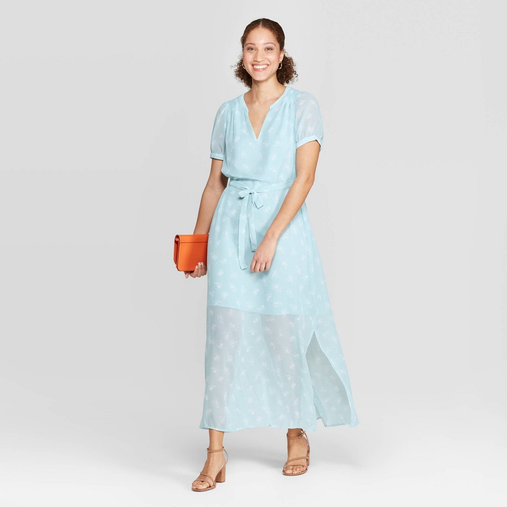 73c51a3239dc40 Womens Floral Print Casual Fit Cap Sleeve Deep V Neck Chiffon Maxi Dress A New  Day Turquoise L Blue