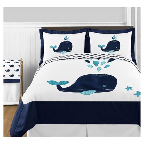 White & Blue Whale Comforter Set (Full/Queen) - Sweet Jojo Designs - image 1 of 4