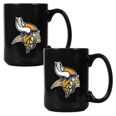 NFL 2pk 15oz Black Coffee Mug Set
