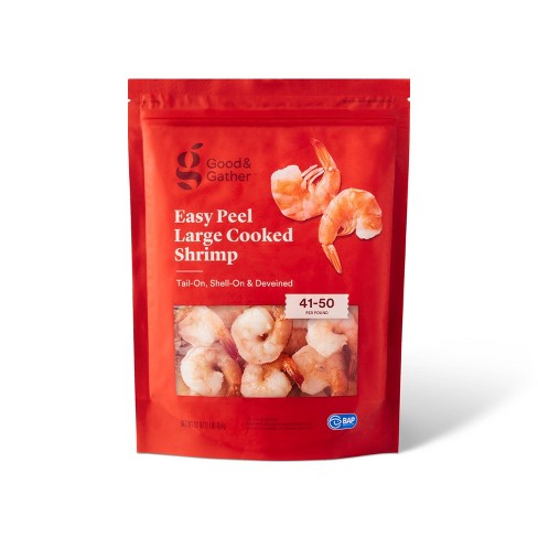 Easy Peel Large Tail & Shell On Deveined Cooked Shrimp - 41-50ct per lb/16oz - Good & Gather™ - image 1 of 4