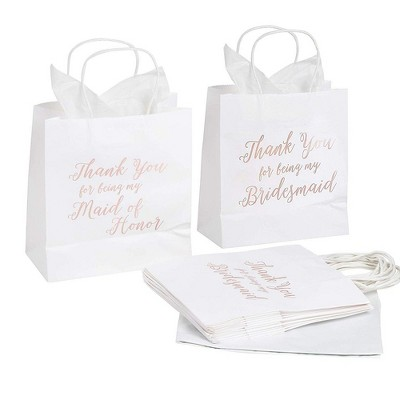 11pcs Bridesmaid Wedding Gift Bags Tissue Paper+1 Maid of Honor For Bridal Party