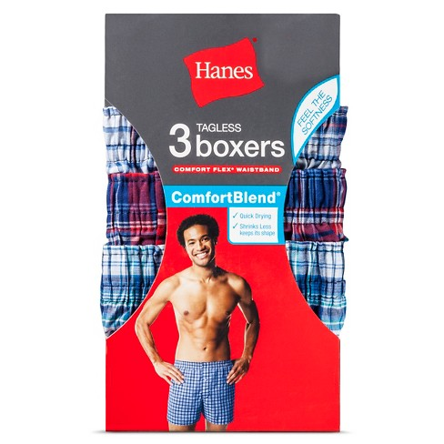 Hanes® Men s 3pk Comfortblend Boxer Shorts - Blue Red Plaid   Target 5e410c657