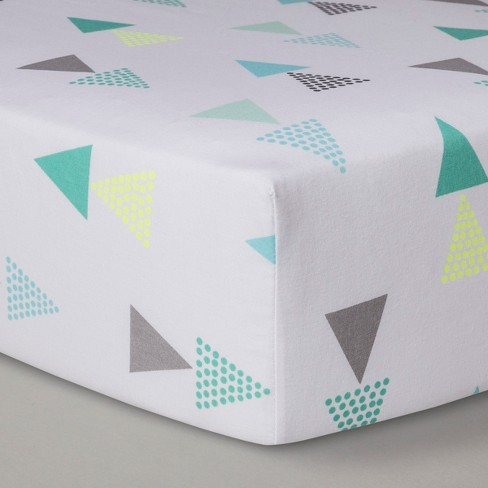Fitted Crib Sheet Triangles - Cloud Island™ Blue - image 1 of 2